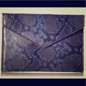 Rebecca Minkoff Leo clutch blue snake skin NWT